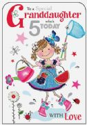 Granddaughter Butterfly 5th Birthday Card